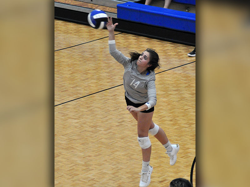 Fannin County Lady Rebel Madison Bowers serves the ball in recent action.