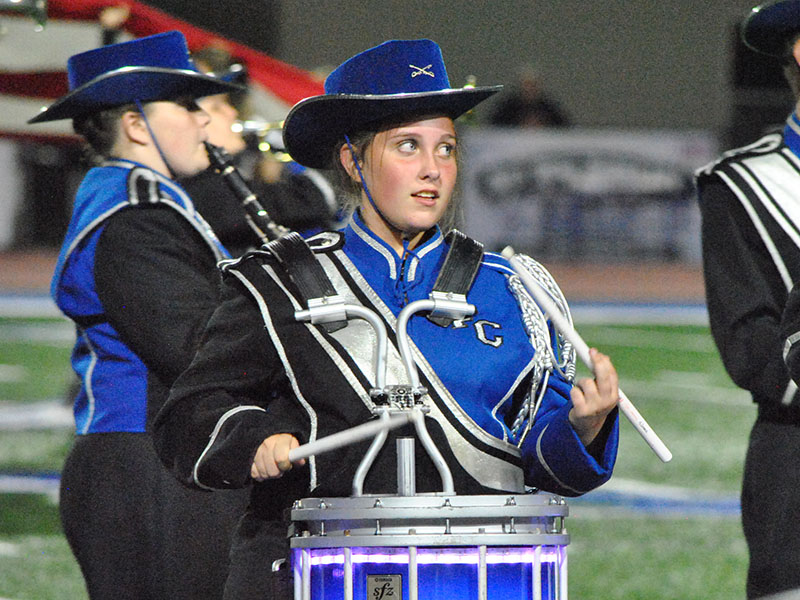 "Fannin County High School Marching Band member Riley Lindstrom performs in the band's show titled, ""Tribute to the American Spirit."" The band was recently named Grand Champion at the Lake Lanier Tournament of Bands at Chestatee High School Saturday, October 8 while performing the show."