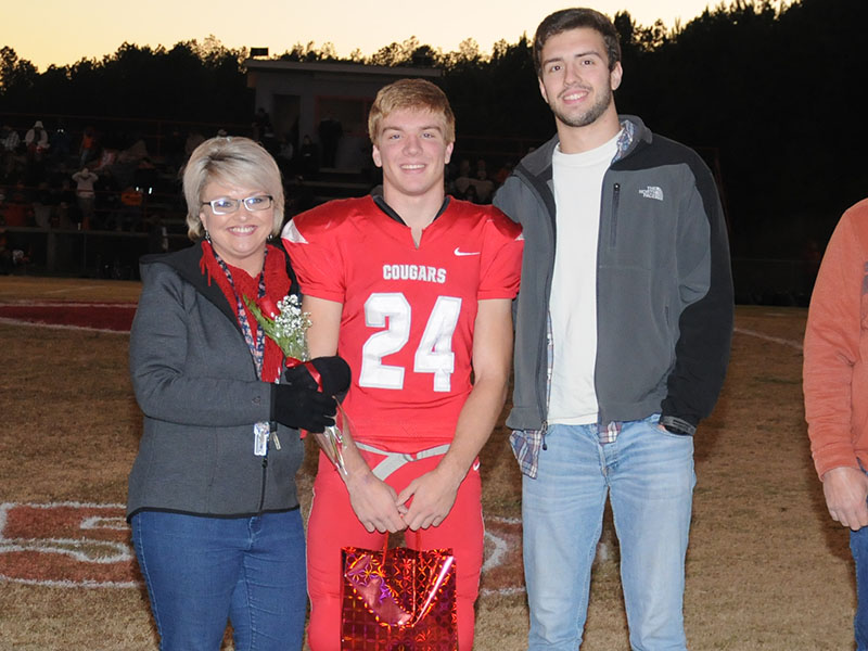 Senior Cougar Chase Mickens was honored during Copper Basin senior ceremony Friday, November 1. Mickens is shown with his mother, Sarah Mickens and brother Keaton Mickens.