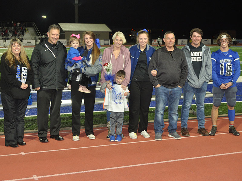 Kendall Postell was honored at FCHS senior night Friday, November 8. Shown are, from left, front, Michael Postell, brother; and back, sisters Anna Postell holding Kaylin Postell, Stacy Postell, mother; senior Kendall Postell, John Postell, father; Matthew Postell, brother; and Caleb Postell, brother.