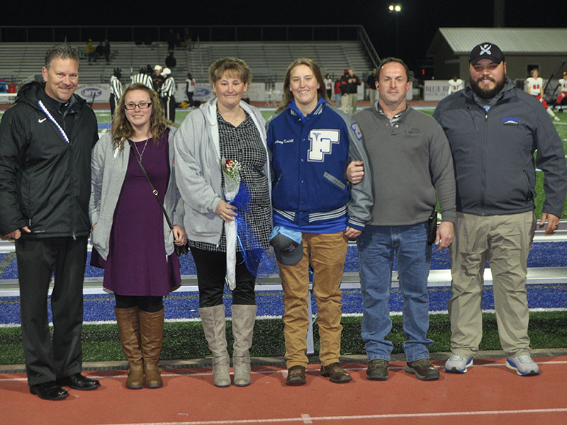 Student athletic trainer Kourtney Kendall was honored at Fannin's senior night Friday, November 8. Pictured are, from left, Kelsey Kendall, sister; Pam Kendall, mother; senior Kourtney Kendall and Calvin Kendall, father;