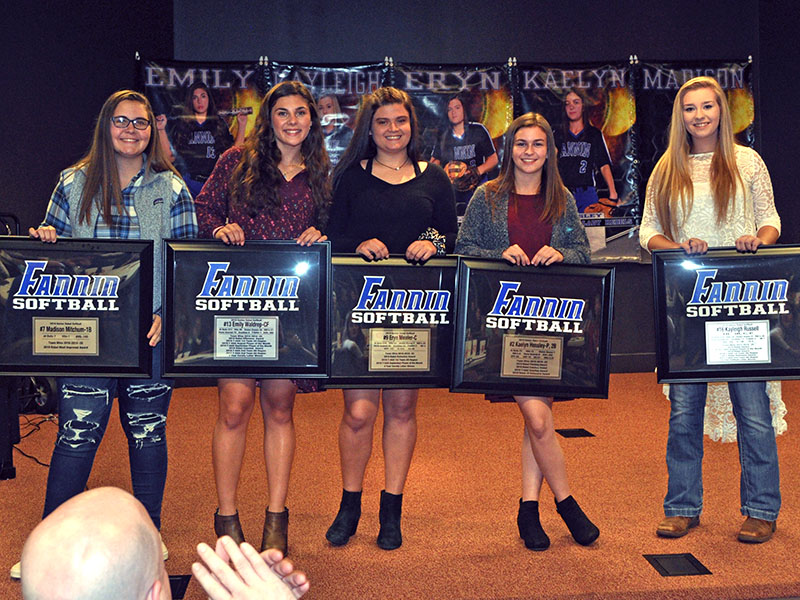 Five Lady Rebel softball seniors were honored at the Lady Rebels end of season banquet Monday, November 18. Seniors shown following the ceremony are, from left, Madison Mitchum, Emily Waldrep, Eryn Mealer, Kaelyn Hensley and Kayleigh Russell.