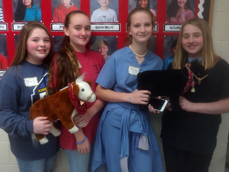 The Fannin Middle School FFA Veterinary Science Team competed  in the Area 1 FFA Veterinary Science Career Development Event at Summerville Middle School in Summerville, Georgia November 19. Shown are, from left, Baylee Charboneau, Abbie McFarland, Kayleighanne Ware and Alyssa Marshall.