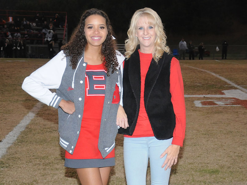 Copper Basin senior Hailey Brackett is shown with her mother Amber Martin at the Copper Basin High School's senior Night Friday, November 1.
