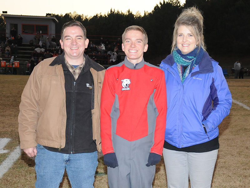Senior Drum Major Levi Deal was honored at Copper Basin's senior night Friday, November 1. Deal is shown with his parents Matthew and Cindy Deal.