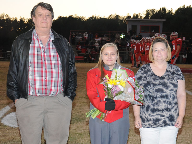 Senior Drum Major Lily Roberts was honored at Copper Basin's senior night, Friday, November 1. Roberts is shown with Jerry and Mary Miller.