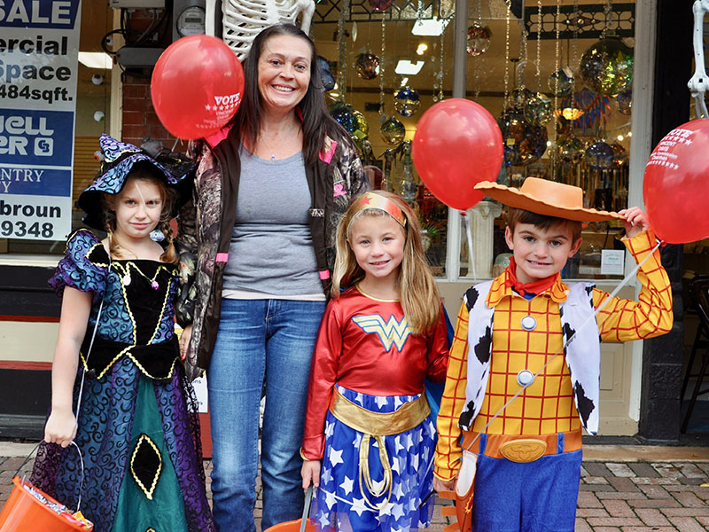 Blue Ridge locals and visitors traveled to downtown Blue Ridge to trick-or-treat for Halloween. Shown are, from left, Bailey Wilgas, Jewel Glass, Hailey Green and Bryan Wilgas.