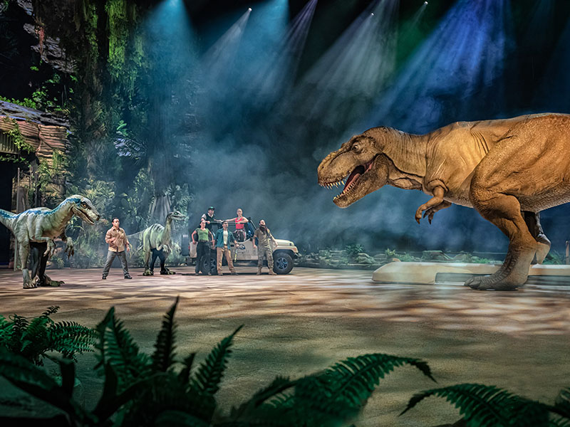 A Tyrannosaurus rex stomps over to a group of park employees and friendly dinosaurs in Jurassic World. What will happen next? Only time will tell. Blue Ridge's own Aaron Thistle is a motorcycle performer in the live entertainment show, Jurassic World Live Tour.