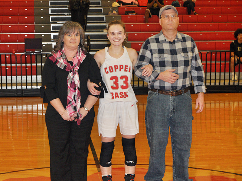 Emily Hemming was one of the 11 Copper Basin High School seniors that were recognized Tuesday, February 18. Hemming is shown with her parents, Tim and Alicia Hemming.