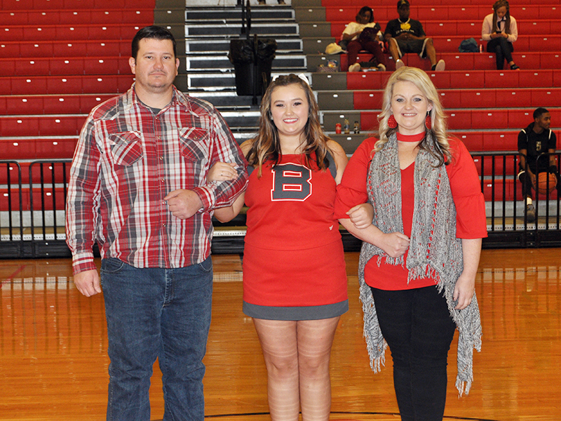Copper Basin High School senior cheerleader Alexandria Hook was one of 11 seniors honored during senior night Tuesday, February 18. Hook was escorted by her parents Jason and Courtney Hook.