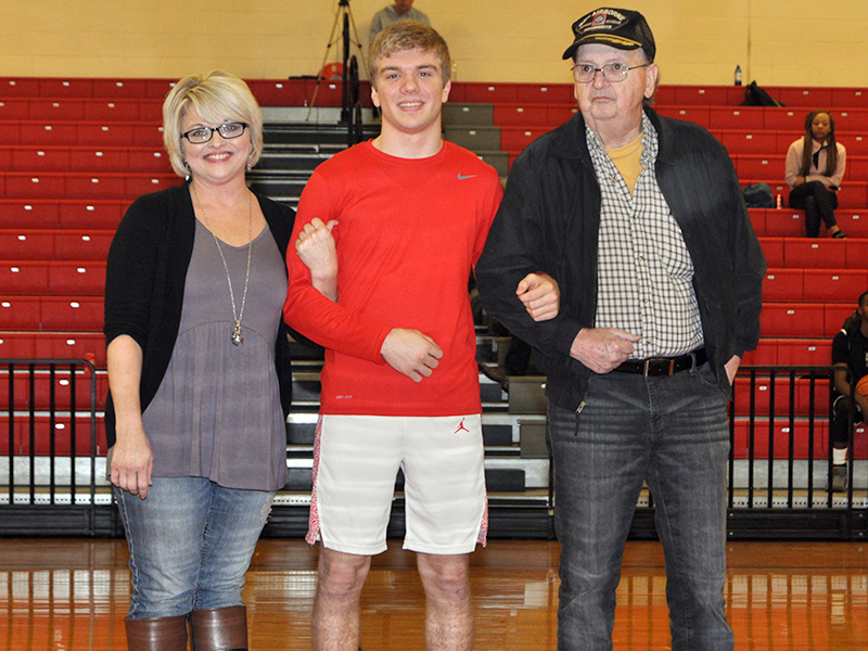 Copper Basin Cougar Chase Mickens was one of the 11 seniors honored at Copper Basin's senior night Tuesday, February 18. Mickens was escorted by his mother, Sarah Mickens and his grandfather, Dee Mickens.