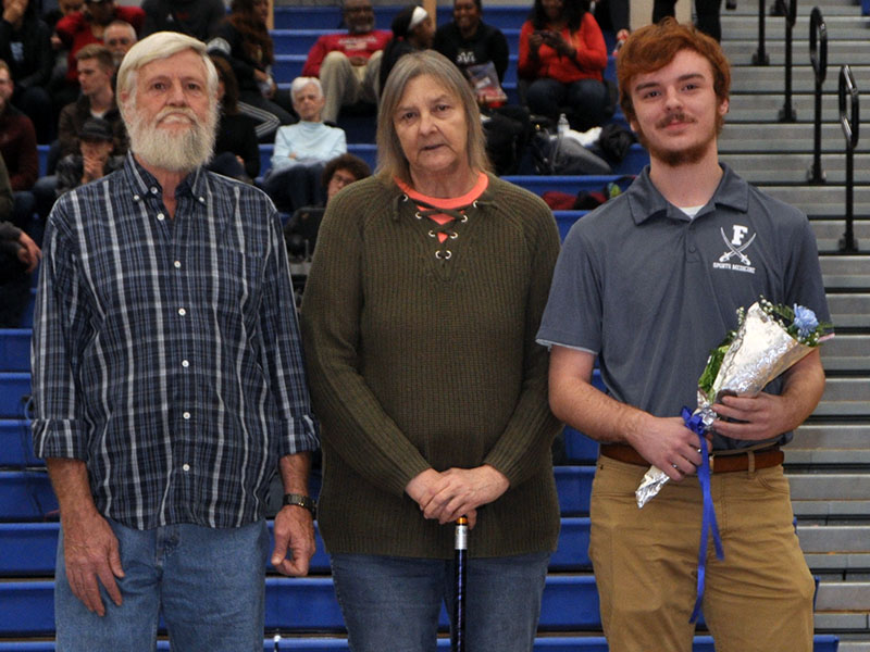 Fannin County High School recognized the Rebels and Lady Rebel seniors at the last home game of the basketball season Friday, January 31. Senior athletic trainer Kadynn Rich was recognized and escorted by his grandparents Henry and Sandy Rich.