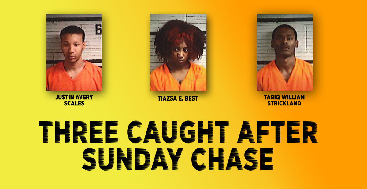 Three caught after Sunday chase