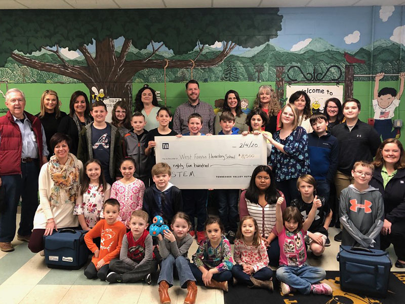 West Fannin Elementary School recently received $8,500 in grant funds from the Tennessee Valley Authority and Bicentennial Volunteers Incorporated for STEM projects. Shown with the TVA check are West Fannin students and staff.