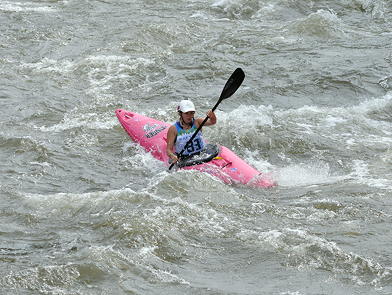Olivia McGinnis fights the rapids at the Ocoee Whitewater Center on the Ocoee River.