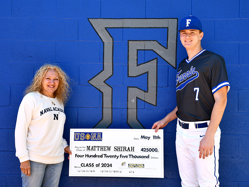 Fannin County High School Class of 2020 graduate Matthew Shirah will receive $425,000 to attend and play baseball for the United States Naval Academy starting this fall. He is shown with Blue and Gold Officer Susan Youngman.