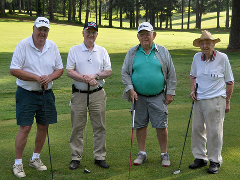 Local historian and centenarian Dale Dyer played nine holes of golf at the Copper Basin Golf Club Thursday, June 11. Shown in his foursome, from left, Ron Hartness, Bill Huff, Dr. Howard Tilley and Dyer. Hartness says this historic, annual outing will continue as long as the golfers are able.