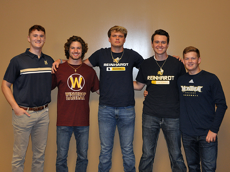 RIGHT: The Fannin County High School baseball team recently held an event for the five seniors on the team. Each senior has signed a scholarship to play baseball at the collegiate level. Shown are, from left, Naval Academy signee Matthew Shirah, Winthrop University signee Carson Beavers, Reinhardt University signees Blake Rogers and Gabe Buchanan, and Montreat College signee Jerritt Holloway.