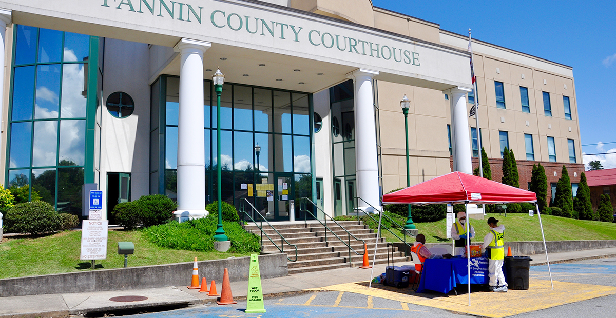 American Property Restoration, who specialize in COVID-19 sanitation and cleaning, were out at the Fannin County Courthouse Thursday, July 9, cleaning up after multiple employees reported that they were exhibiting symptoms of the virus.