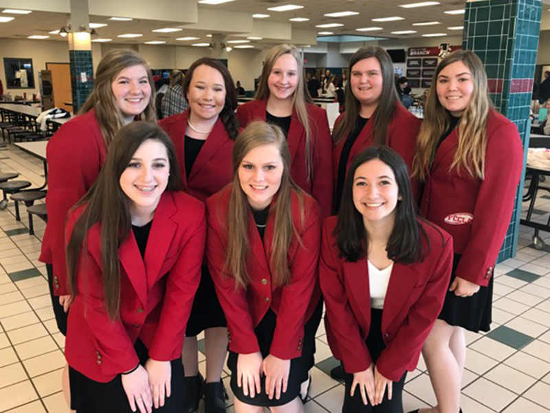 Eight Fannin County High School Family Career and Community Leaders of America (FCCLA) students either competed virtually this year at the national level or helped their fellow organization members prepare for competition. Shown, from left, front, are Sierra Reynolds, Alexis Hill and Isabella Tocci; back, Bailey Pettit, Sydney Tarpley, Anna Rhodes, Gracie Stewart and Kharcee-Lane Hughes.