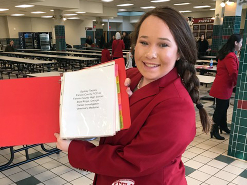 Fannin County High School student Sydney Tarpley received third place in the nation for her Career Investigation project at the national Family Career and Community Leaders of America (FCCLA) competition this year.
