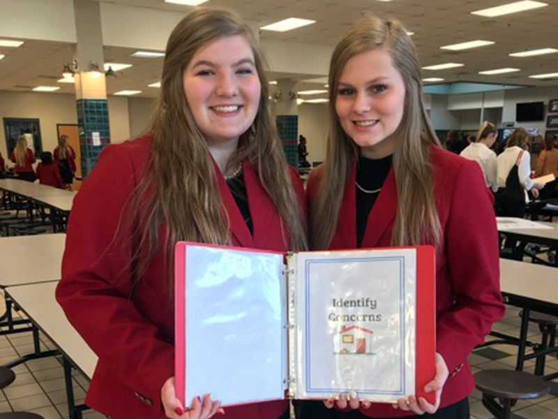 Fannin County High School Family Career and Community Leaders of America (FCCLA) members Bailey Pettit, left, and Alexis Hill placed in fourth across the nation for their Chapter Service Project Portfolio Level 3 project at national competition.
