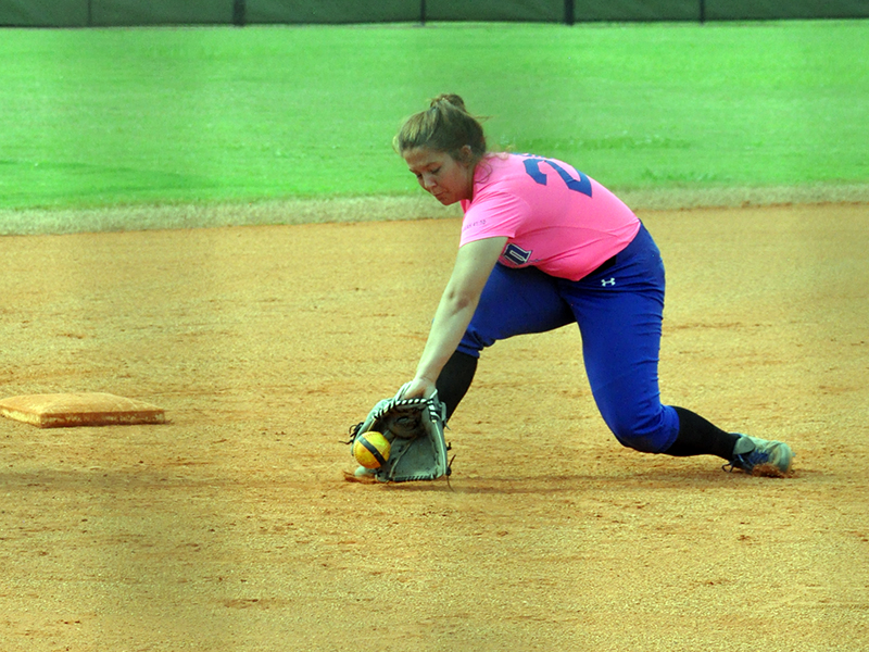 Lady Rebel Chelsey Fyre stops a ground ball in recent action for the Fannin County Lady Rebels softball team.