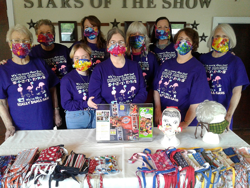 """The Sisters of Perpetual Sewing"", or the Blue Ridge Community Theater's costume department, made over 2,000 face masks to combat the shortage that arose in late March. ""Sisters"" shown with their craft are, from left, Wanda Jefferson, Janet Locke, Olivia DeLoy, Nancy Staley, Kim Wescott, Deb Chavez, Renee Roberts, Pam Wilson and Sue Hoagland."