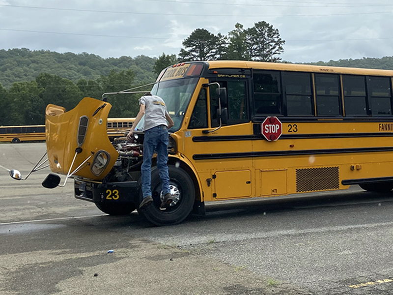 A windshield technician recently installed a new windshield on a school bus as the Fannin County Transportation Department continued to prepare for the return of school Friday, August 7.
