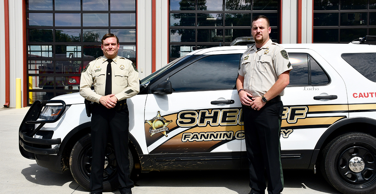 Fannin County Sherriff's Office Investigator Gary Edwards, left, and Corporal Dustin Carder responded to a vehicle accident where they administered Narcan to a citizen, saving his life, Tuesday, June 30.