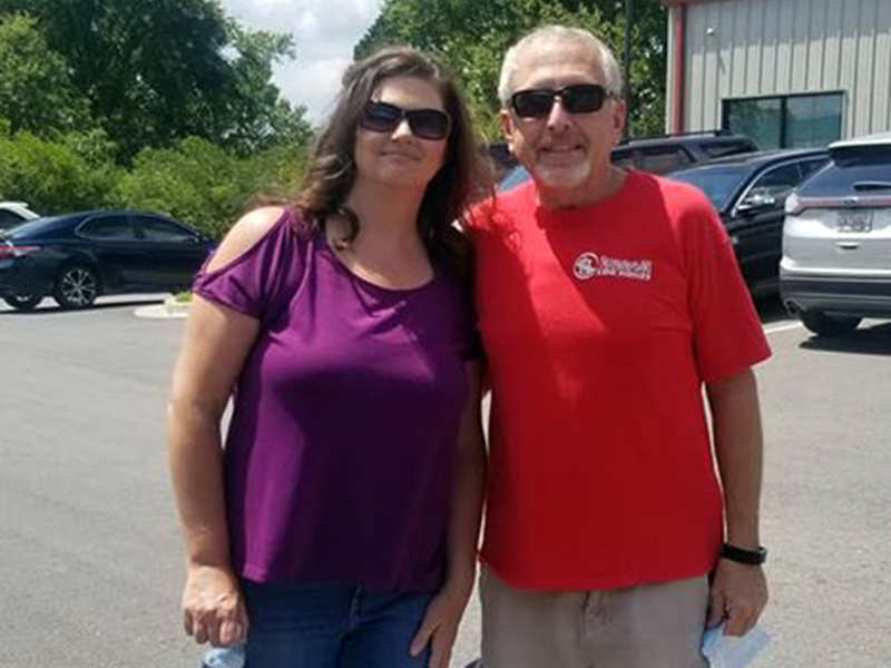 Becky and Greg Harkins participated in a Blood Assurance blood drive in memory of Fannin County Paramedic/Firefighter Michelle Sowers Sunday, August 16.