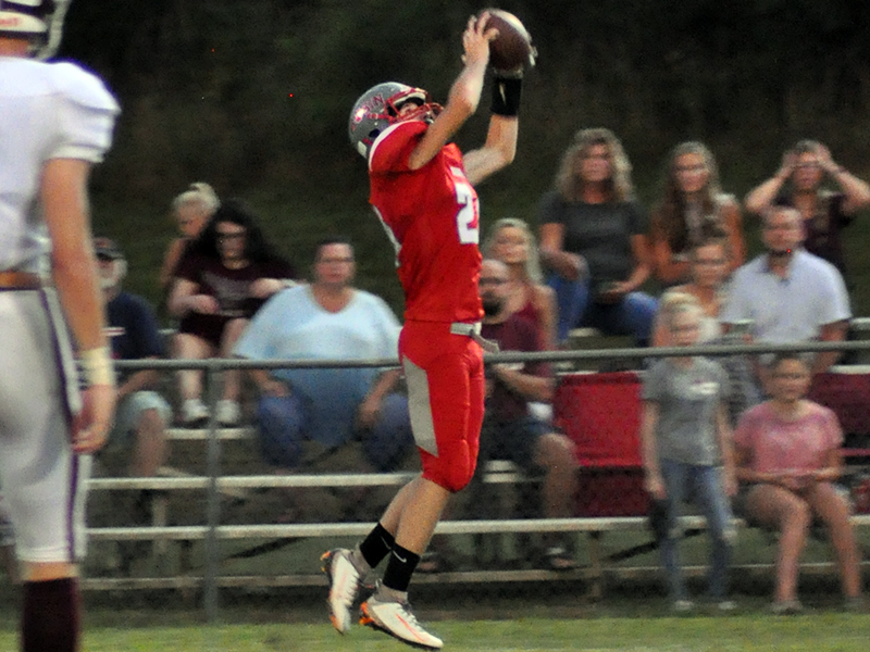 Copper Basin Cougar Caeden Williams hauls in a catch for a touchdown during the Cougars game with Tellico Plains Friday, September 11.