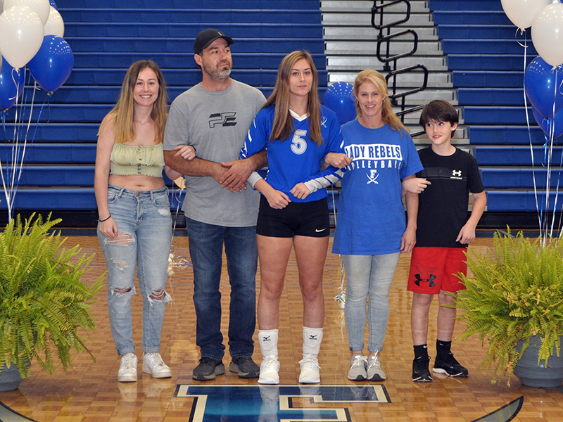 Fannin County held senior night for the five senior Lady Rebels Thursday, September 10. Shown are, from left, sister, Jordan Anderson; father, Jeff Anderson; senior, Alyssa Anderson; mother, Tashina Anderson; brother, and Peyton Anderson.