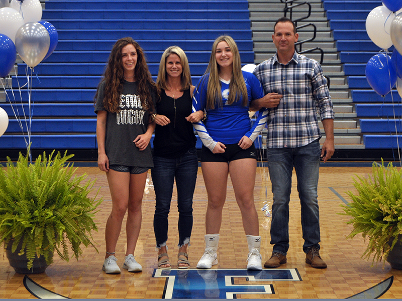 Paige Foresman was one of five Fannin County seniors honored during senior night at Fannin's game against Copper Basin Thursday, September 10. Shown are, from left, sister, Candace Seabolt; mother, Heather Foresman; senior, Foreseman; and father, Chris Foresman.