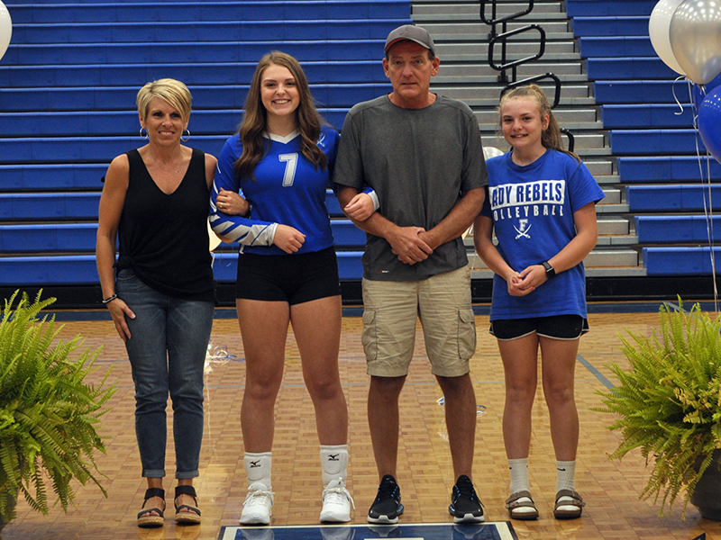 Fannin County held senior night for their volleyball players Thursday, September 10. Shown are, from left, mother, Kelly Ledford; senior, Abby Ledford; father, Brian Ledford; and sister, Maggie Ledford.
