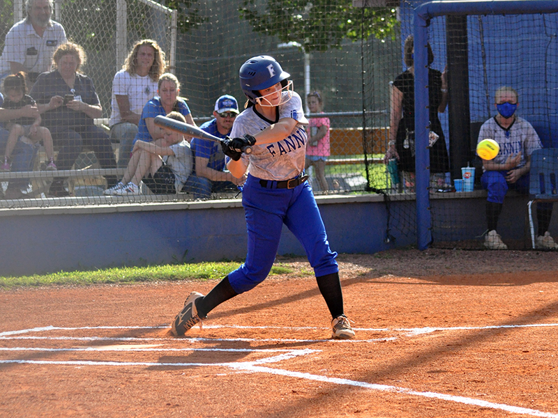 Riley Davis slugs a ball in recent action for the Fannin County Lady Rebel softball team.