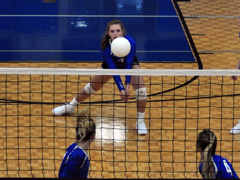 Abby Ledford keeps a volley alive in recent action for the Fannin County volleyball team.