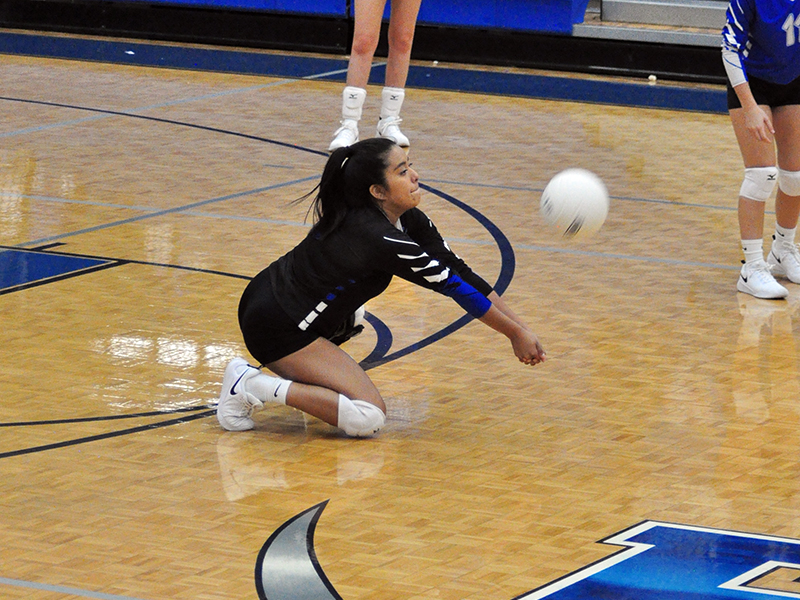 Lady Rebel senior Prisila Bautista keeps a volley alive in the Lady Rebels varsity volleyball win over Copper Basin Thursday, September 10.