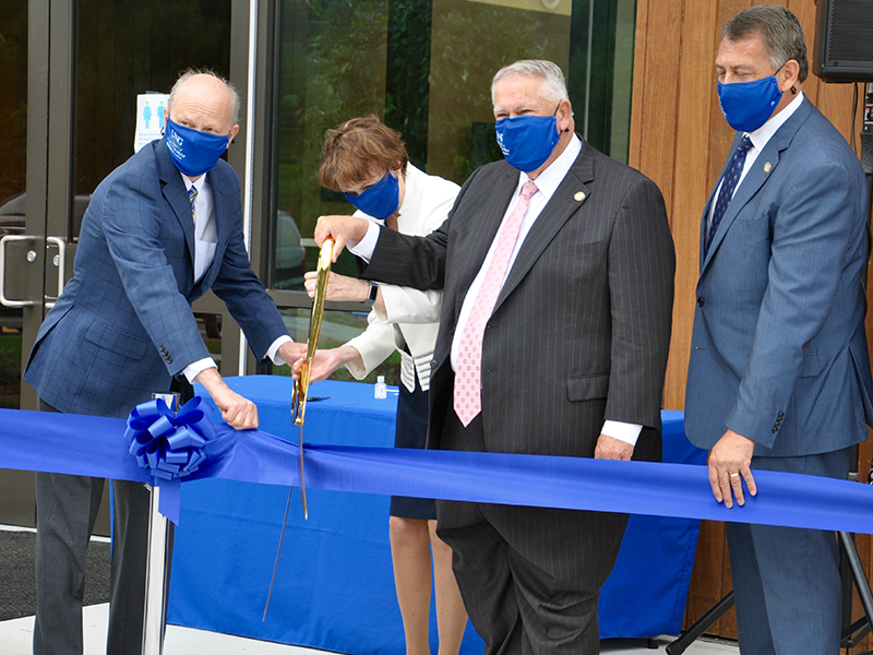 The University of North Georgia held a ribbon cutting ceremony Wednesday, September 16, for the opening of the Blue Ridge Campus. Shown are, from left, University Systems of Georgia Chancellor Dr. Steve Wrigley, UNG President Dr. Bonita Jacobs, Georgia Speaker of the House David Ralston and District 51 Senator Steve Gooch.