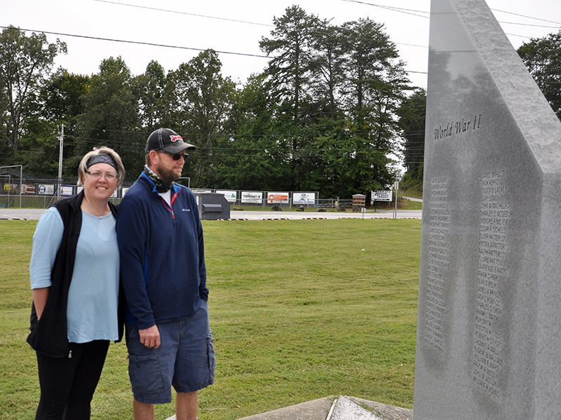 Karen and Edward Ayers were among the many jeepers to travel to Fannin County Veterans Park and Museum for the Jasper, Georgia, chapter of the Sons of the American Legion Second Annual Freedom Wheels Jeep Ride. The couple is shown checking out the World War II monument in the park.