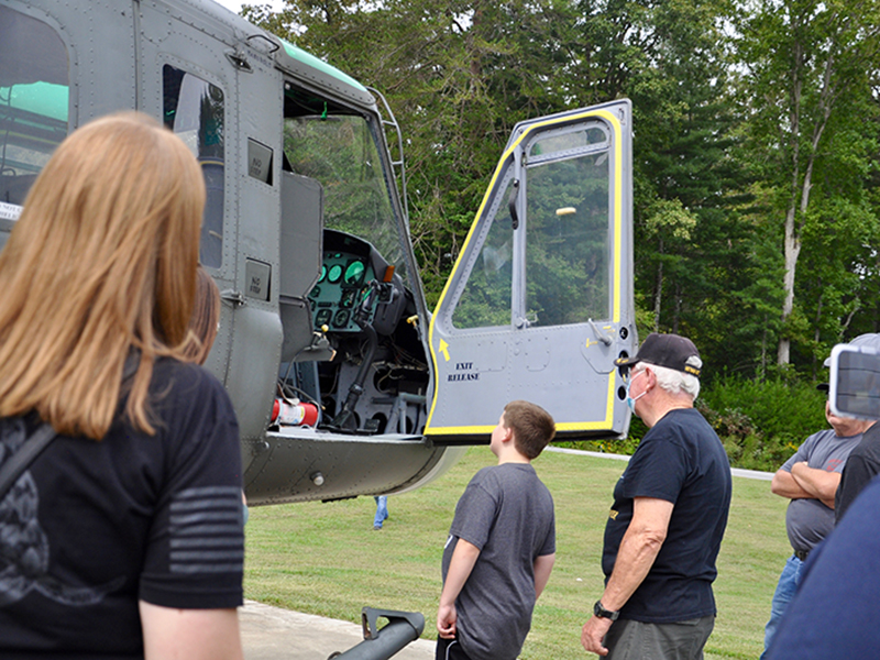 Vietnam veteran and former Huey Crew Chief Rod McIntyre opened up the Fannin County Veterans Park Huey helicopter for visitors to see.