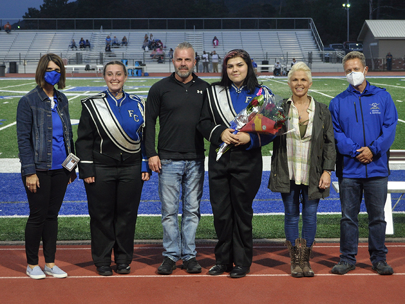 Senior band member Leah Burger was honored during Fannin County High School's senior night ceremony  Friday, October 9. Shown are, from left, Riley Lindstrom, Jimmy Burger, Burger and Laura Jones.