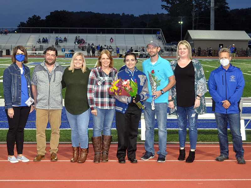 Senior Kylee Cornelius was one of six band members honored during the Fannin County senior night ceremony Friday, October 9. Shown are, from left, Andrew Kjeldgaard, Dawn Cornelius, Robbie Cornelius, Cornelius, Michael Cornelius and Kayla Cornelius.
