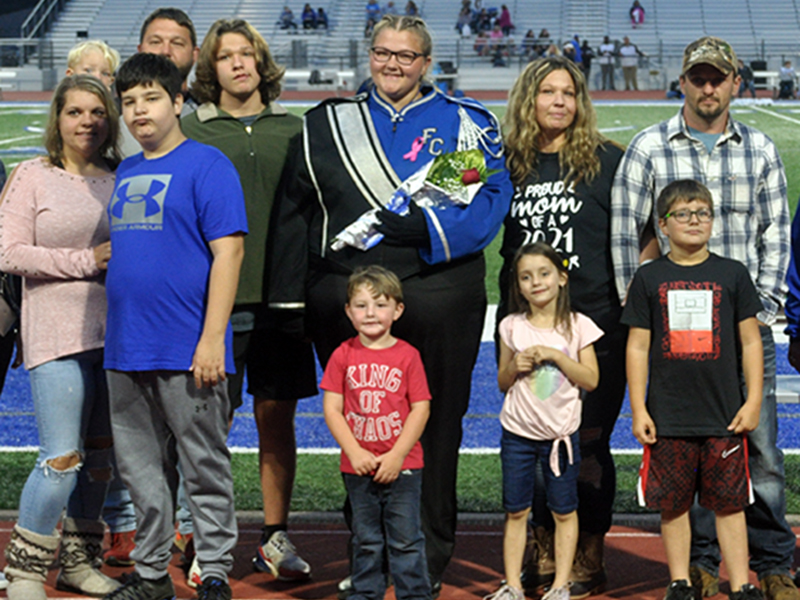 Senior band member Jacie Crowder was honored during Fannin County's High School's senior night ceremony  Friday, October 9. Shown are, from left, Ashley Crowder, Ryan Crowder, Braxtyn Crowder, Austin Stilwell, Matthew Crowder, Crowder, Kooper Crowder, Haillynn Stilwell, Amy Crowder, Avery Stilwell and Jessie Cantrell.