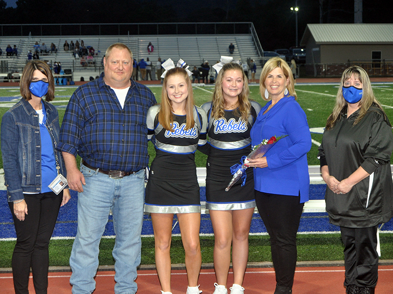 Courtney Tamberino was honored with the cheerleading seniors during Fannin's senior night ceremony Friday, October 9. Shown are, from left, father, Chip Tamberino, Tamberino, sister, Katherine Tamberino and mother, Ashley Tamberino.