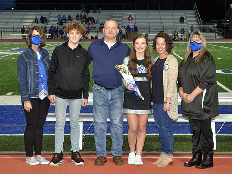 Fannin County High School held it's senior night ceremony for the cheerleaders Friday, October 9. Shown are, from left, Conner Waters, Justin Bramlett, Senior Karly Waters and Renee Bramlett.
