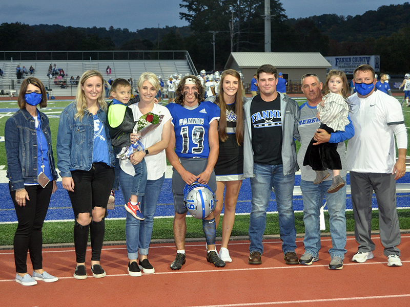 Fannin County High School held its senior night for the 2020 football, cheerleading, band, sports medicine and cross country seniors Friday, October 9. Shown are, from left, sister, Kendall Postell, brother, Michael Postell, mother, Stacy Postell, senior, Caleb Postell, senior cheerleader Anna Postell, brother, Matthew Postell, father, John Postell, father and sister, Kaylin Postell.