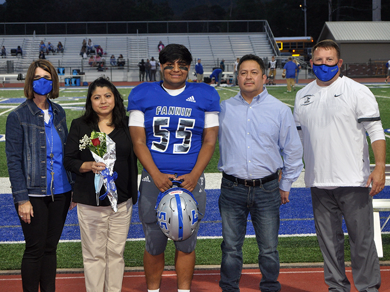 Christian Resendiz was one of 15 football seniors to be honored before Fannin's game against Gordon Central Friday, October 9. Resendiz is shown with his parents Angelina and Alejandro Resendiz.