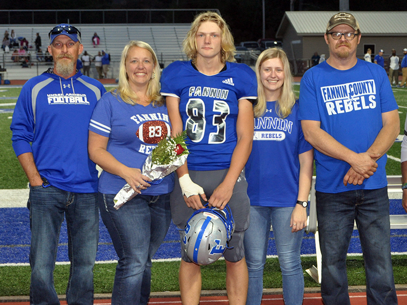 Dalton Ross was honored along with 14 other seniors during Fannin County High School's senior night Friday, October 9. Shown are, from left, stepfather, Kevin Dilbeck, mother, Pearl Dilbeck, Ross, sister, Roxie Ross and father, Chris Ross.