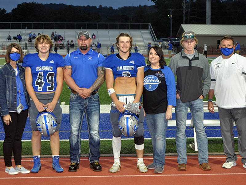 Jake Sands was honored, along with 15 other seniors before the Rebels game against Gordon Central Friday, October 9. Shown are, from left, brother, Cade Sands, father, Mike Sands, Sands, mother, Holly Sands and brother, Zach Sands.
